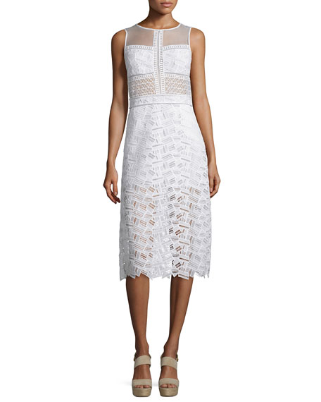 Veronica Beard Sleeveless Lace A-Line Dress, Off White