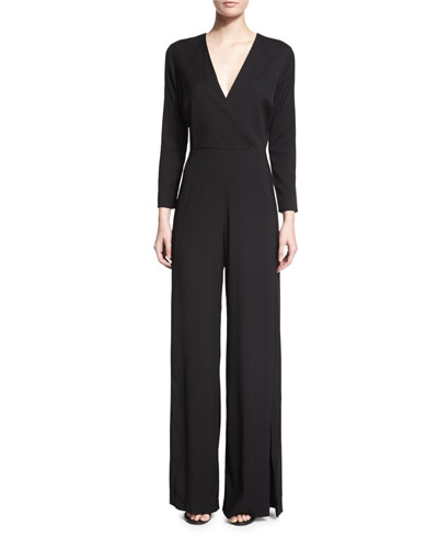 Long-Sleeve Wide-Leg Jumpsuit, Black