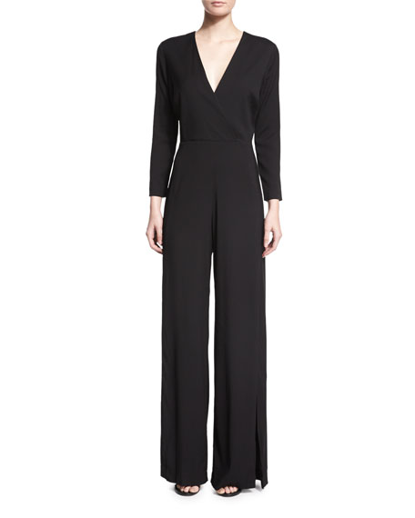 Veronica Beard Long-Sleeve Wide-Leg Jumpsuit, Black