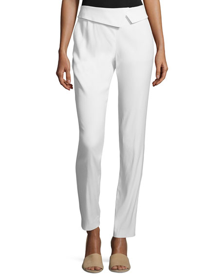 Veronica Beard Fold-Waist Back-Zip Trousers, White