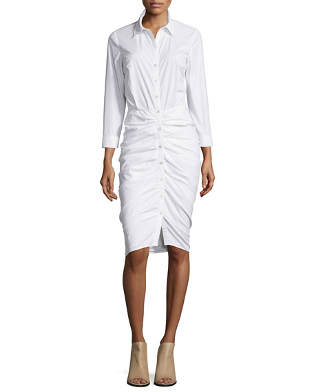 Veronica Beard Ruched Button-Front Shirtdress, White