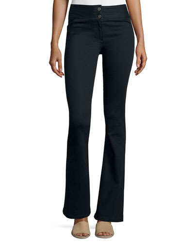 High-Waist Flared Pants, Black