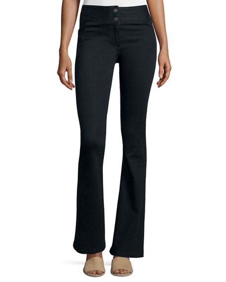 Veronica Beard High-Waist Flared Pants, Black
