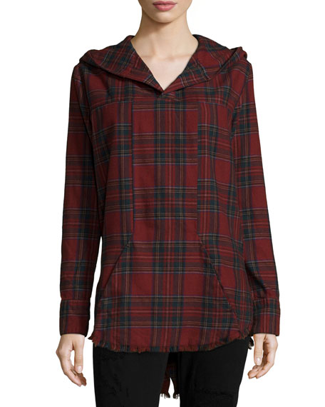 RtA Parker Long-Sleeve Plaid Hoodie, Class Act