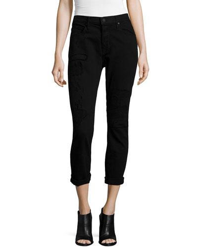 RtA Ryder Obsidian Repair Cropped Skinny Jeans, Black