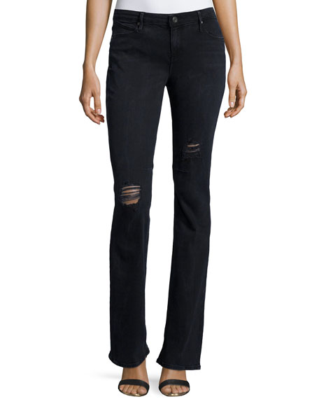 RtA Jackson Distressed Boot-Cut Jeans, Blue