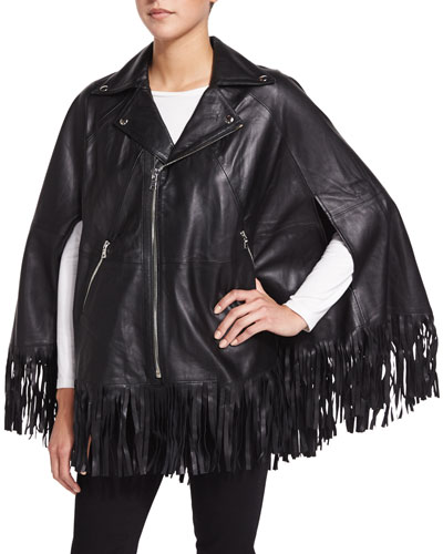 Lola Leather Poncho W/Fringe, Black
