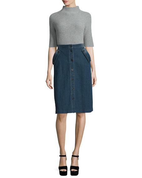 Half-Sleeve Mock-Neck Shaker Sweater, Pearl Heather