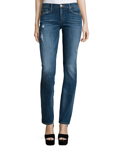 Cora Mid-Rise Straight-Leg Jeans, Blue