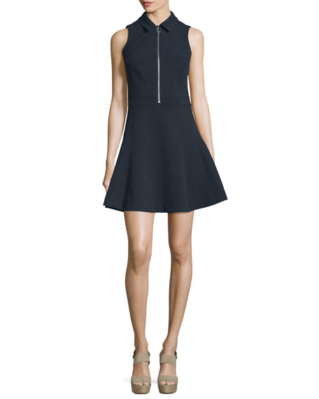 MICHAEL Michael Kors Sleeveless Zip-Front Party Dress, New Navy