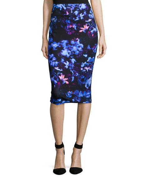 Floral-Print Contour Skirt