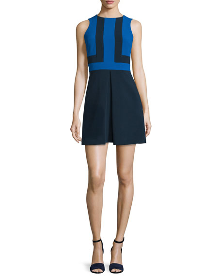 MICHAEL Michael Kors Sleeveless Colorblock Mini Dress, New Navy