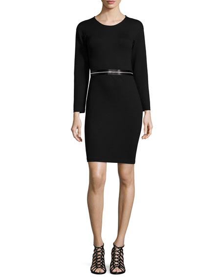 McQ Alexander McQueen Long-Sleeve Zip-Waist Dress, Darkest Black