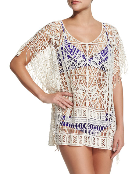 L Space Swimwear by Monica Wise Simone Crocheted Poncho Coverup
