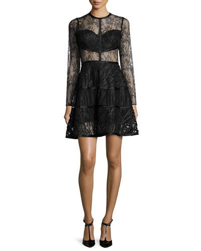 Long-Sleeve A-Line Lace Dress, Black