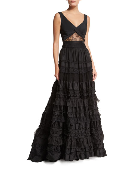 Alexis Samuel Sleeveless Tiered Lace Gown, Black