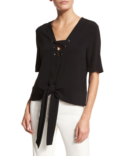 Short-Sleeve Goya Tie-Front Blouse, Black