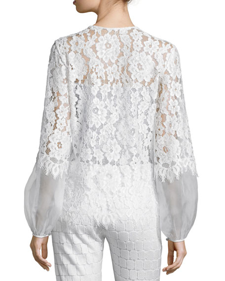 Alexis Sue Long-Sleeve Lace Blouse, White