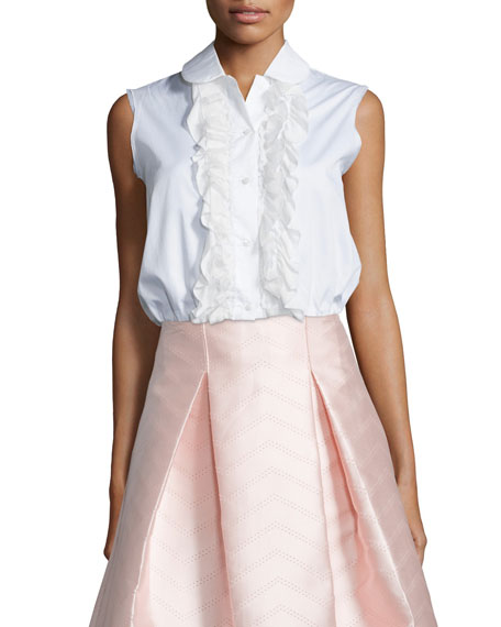 Alexis Orly Sleeveless Ruffled Blouse, White