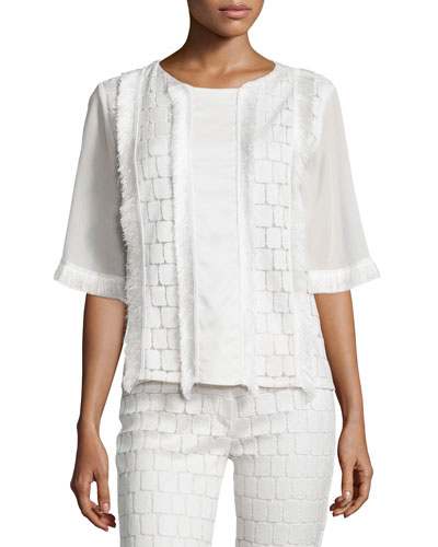 Vic Frayed-Trim Blouse, White