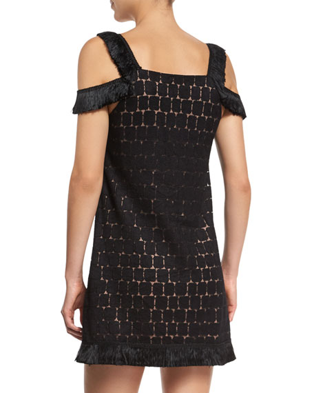 Geometric Cold-Shoulder Mini Dress, Black