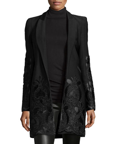 Marios Embroidered Open-Front Coat, Black