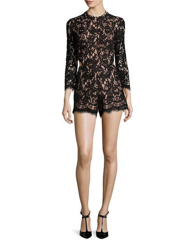 Brixen Long-Sleeve Lace Romper, Black