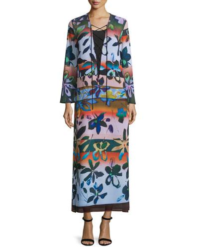 Long-Sleeve Riviera Sunrise Maxi Dress, Multicolor