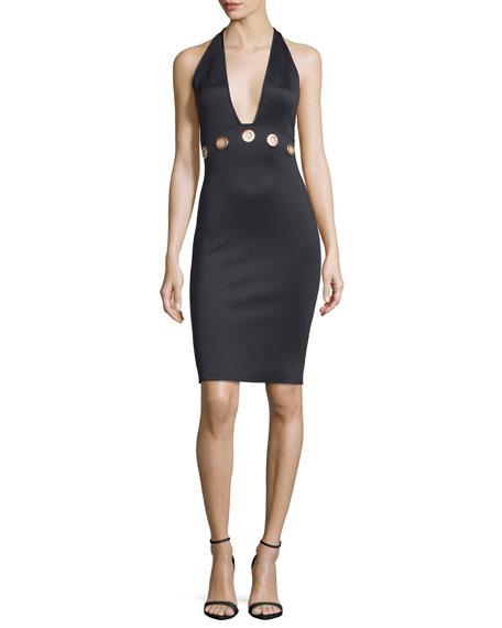 Grommet Halter Sheath Dress, Black