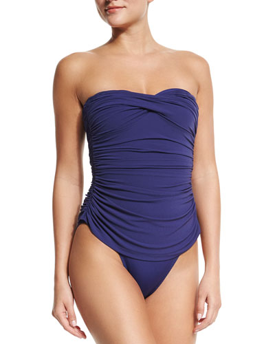 Norma Kamali Walter Mio Ruched One-Piece Swimsuit, Midnight
