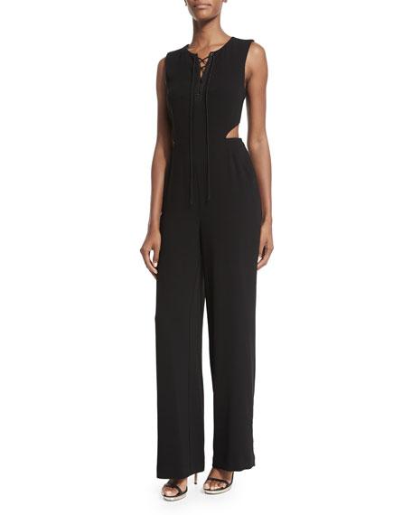 Jonathan Simkhai Sleeveless Angled Cutout Crepe Jumpsuit, Black