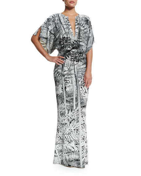 Norma Kamali Obie Printed V-Neck Coverup Gown