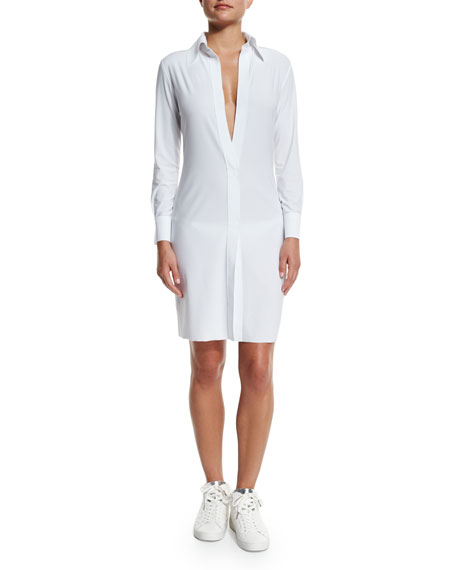 Norma Kamali Shirt-to-Knee Plunging-Neck Dress