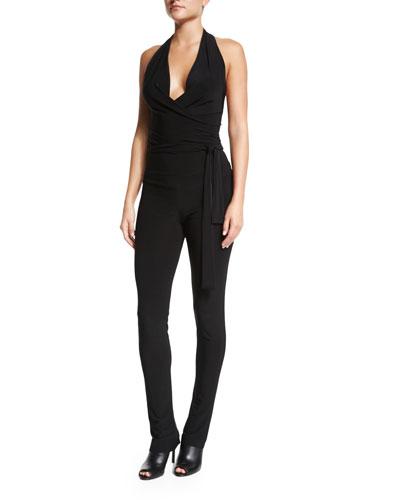 Halter-Neck Wrap Jumpsuit, Black