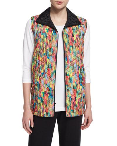 Rain or Shine Mosaic-Print Vest