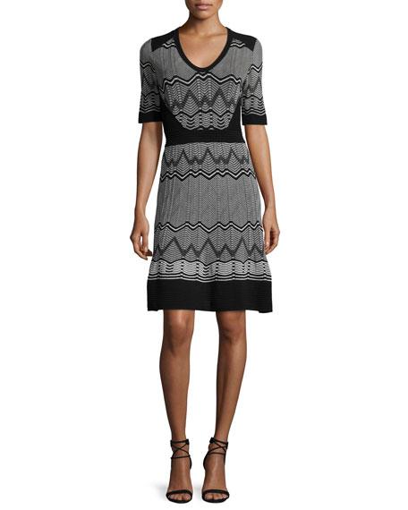 M Missoni Frequency Zigzag Half-Sleeve Dress