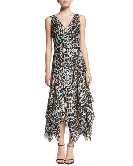Foundrae Sleeveless Printed Silk-Blend Handkerchief Dress
