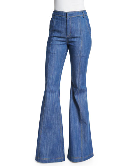 Derek Lam 10 Crosby High-Waist Flare Jeans, Pale