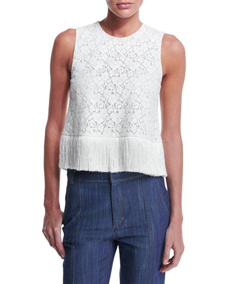 Sleeveless Lace Fringe-Trim Crop Top, Soft White