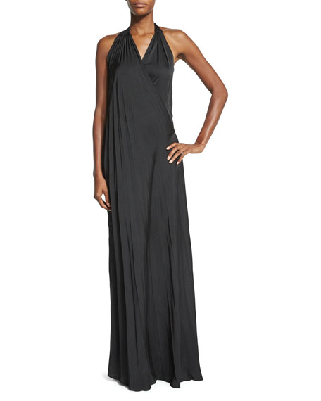 L'Agence Harley Vintage-Satin Maxi Halter Dress, Black