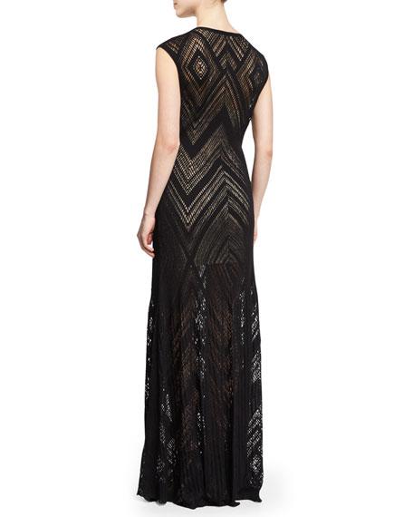 Tatiana Cap-Sleeve Chevron-Knit Maxi Dress, Black