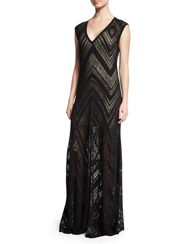 Tatiana Cap-Sleeve Chevron-Knit Maxi Dress, Black