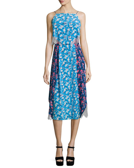 Tanya Taylor Designs Sleeveless Colorblock Cornflower Dress, Navy