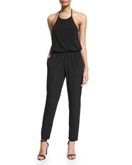 Karla Colletto Halter Blouson Jersey Jumpsuit, Black