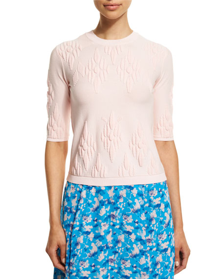 Tanya Taylor Robin Jacquard Pullover Sweater, Light Pink