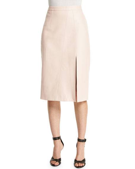 Tanya Taylor Designs Gigi Leather Midi Skirt, Light Pink