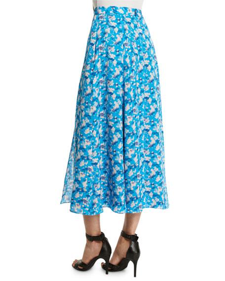 Wixson Floral Midi Skirt, Cornflower