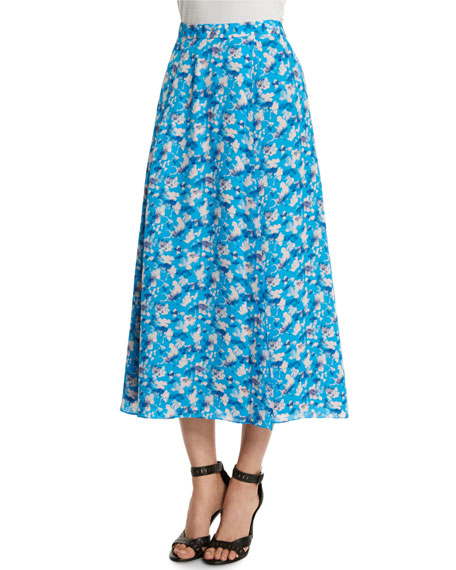 Tanya Taylor Designs Wixson Floral Midi Skirt, Cornflower