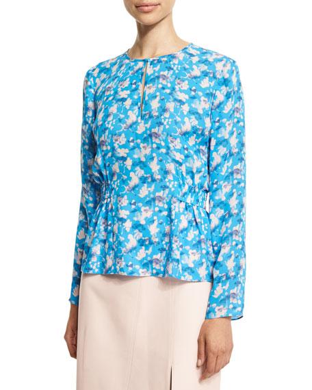 Tanya Taylor Designs Heather Floral Silk Top, Cornflower