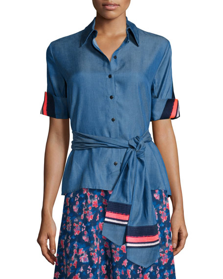 Tanya Taylor Embroidered Jia Jia Chambray Short-Sleeve Top,